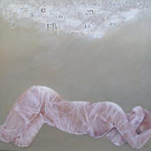 Chrysalide Il - 100 x 100 cm - collages et acrylique