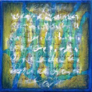 Epreuve de Temps Bleu 2 - 30 x  30 cm - collage et acrylique