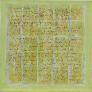 Epreuve de Temps Jaune - 30 x  30 cm - collage et acrylique