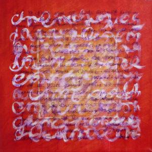 Epreuve de Temps Rouge 1 - 30 x  30 cm - collage et acrylique