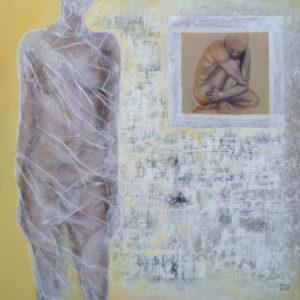 Chrysalide l - 100 x 100 cm - collages et  acrylique