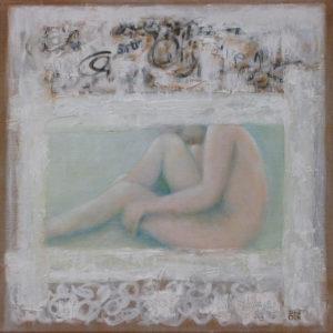 Repli - 40 x 40 cm -  collages et huile